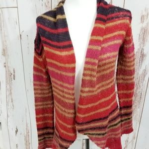 Anthro wooden ships striped red black cardigan